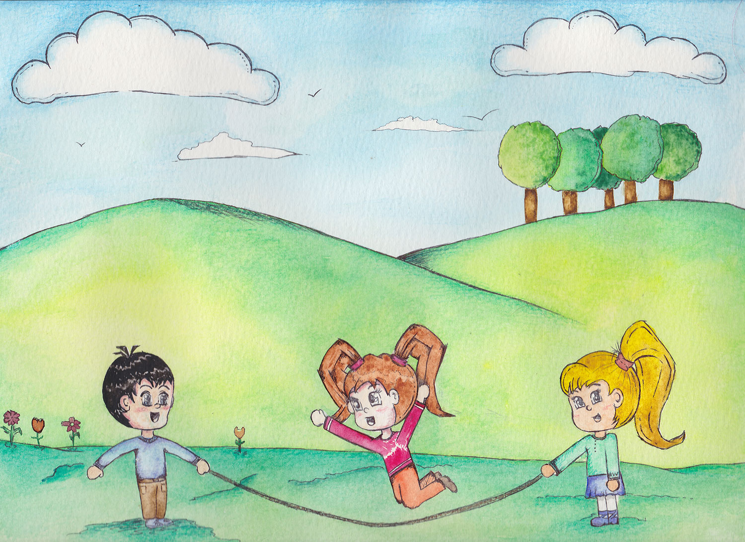 Children book illustration watercolour
