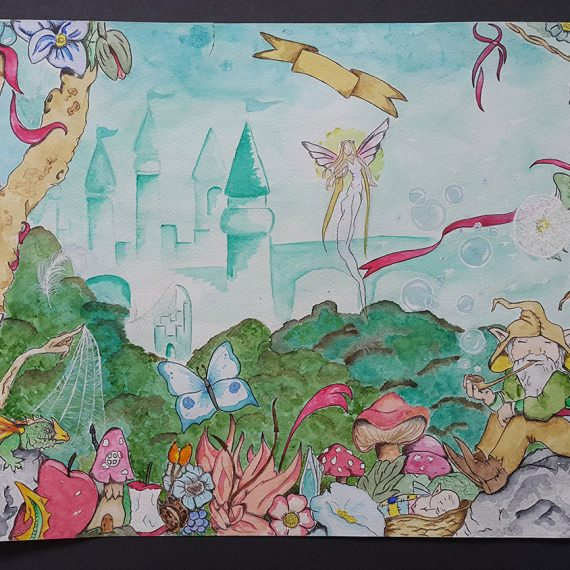 Fairy tale watercolour children illustration