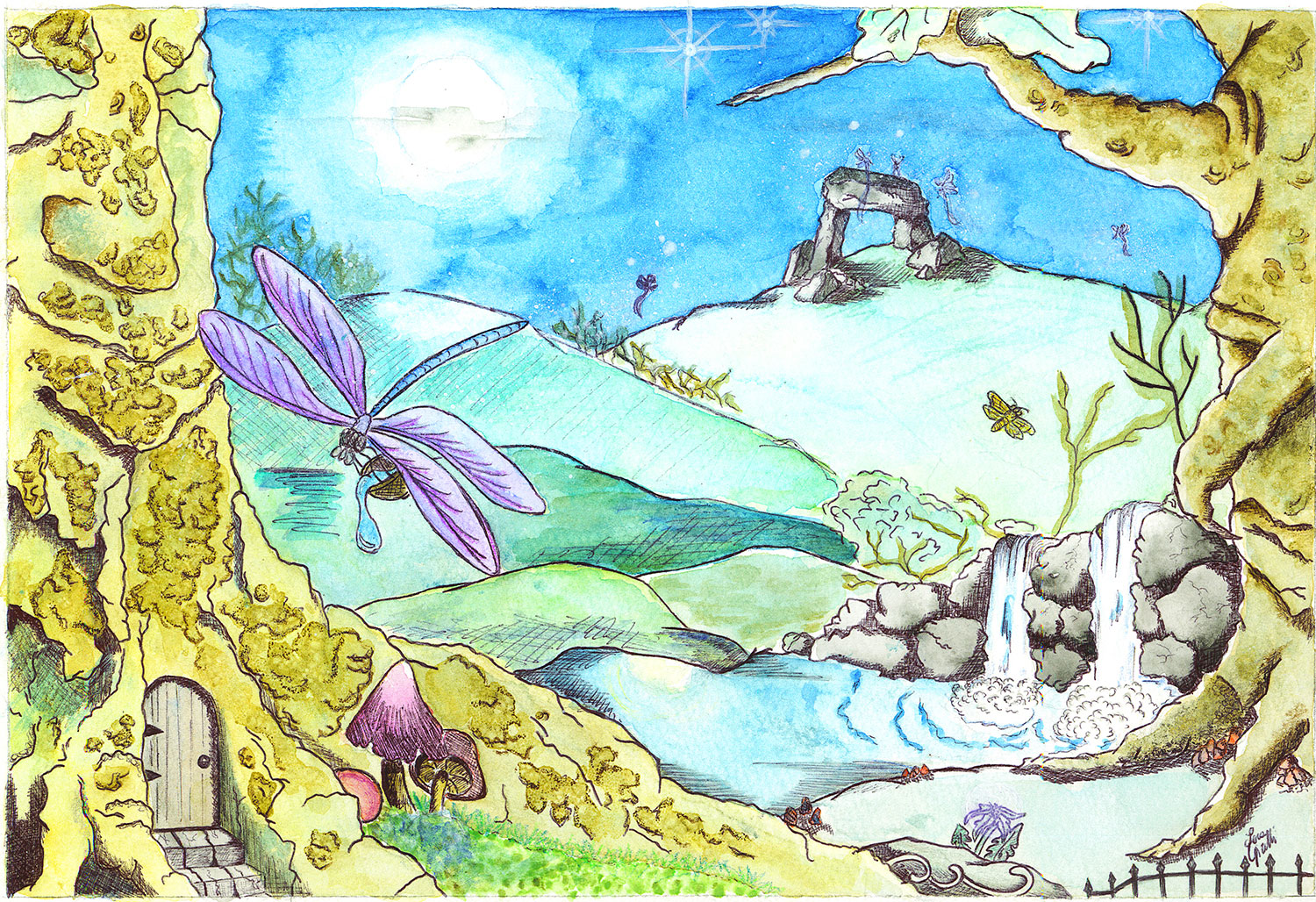 Nocturnal garden watercolour children illustration