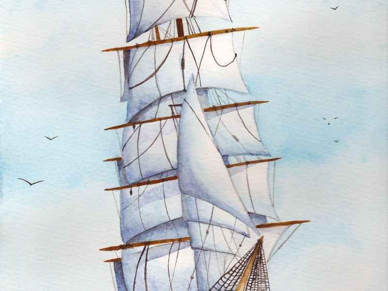 Tall ship watercolour illustration