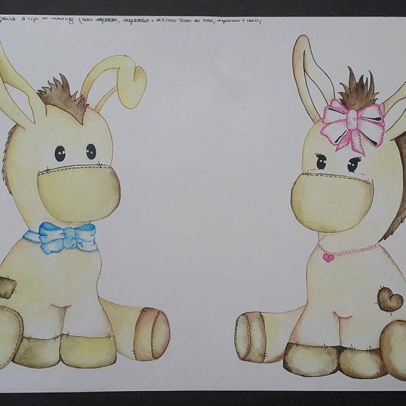 Watercolour concept illustration logo design donkey